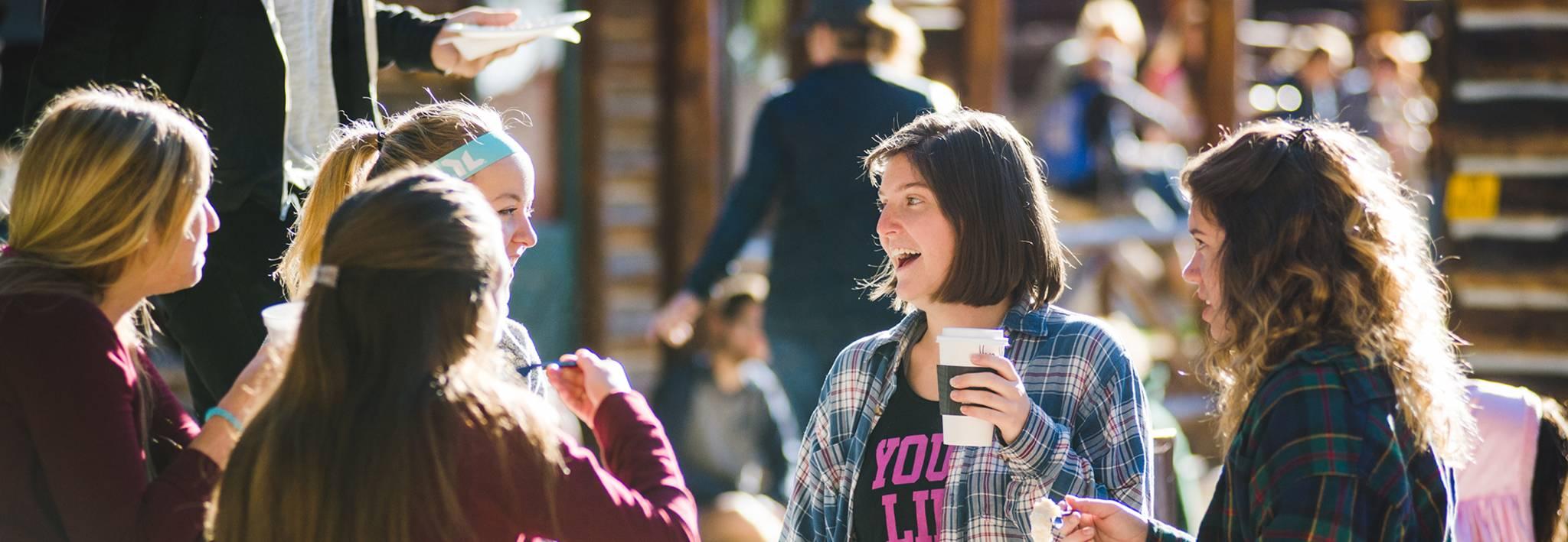 CCU students having a conversation at New Student Retreat.