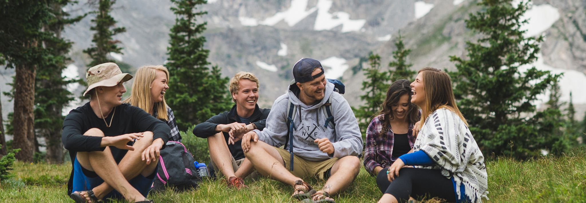 Students laughing and enjoying the mountains in Colorado.