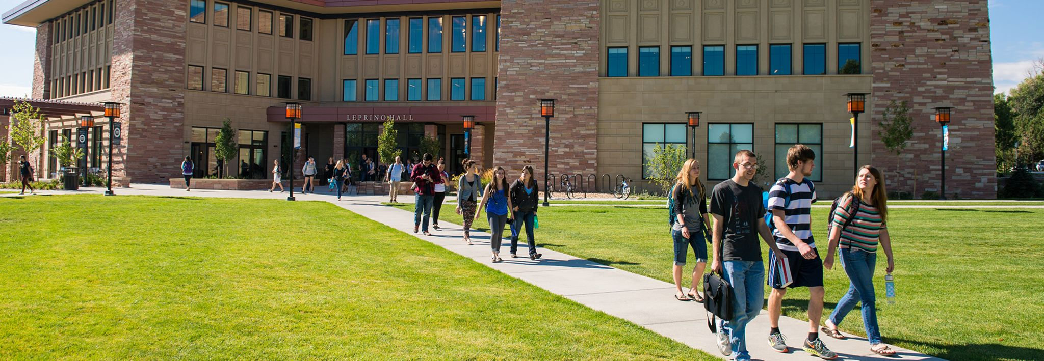 Colorado Christian University students walking out of Leprino after class.