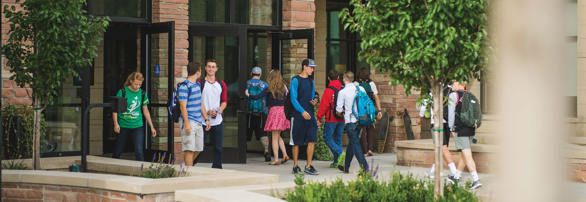 Students walking out of Leprino.
