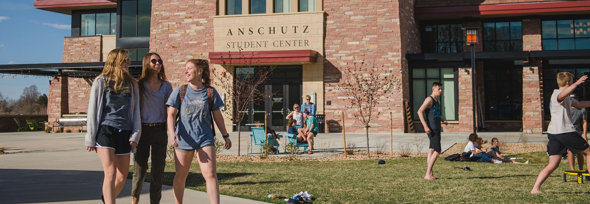 CCU students in front of Anschutz Student Center.