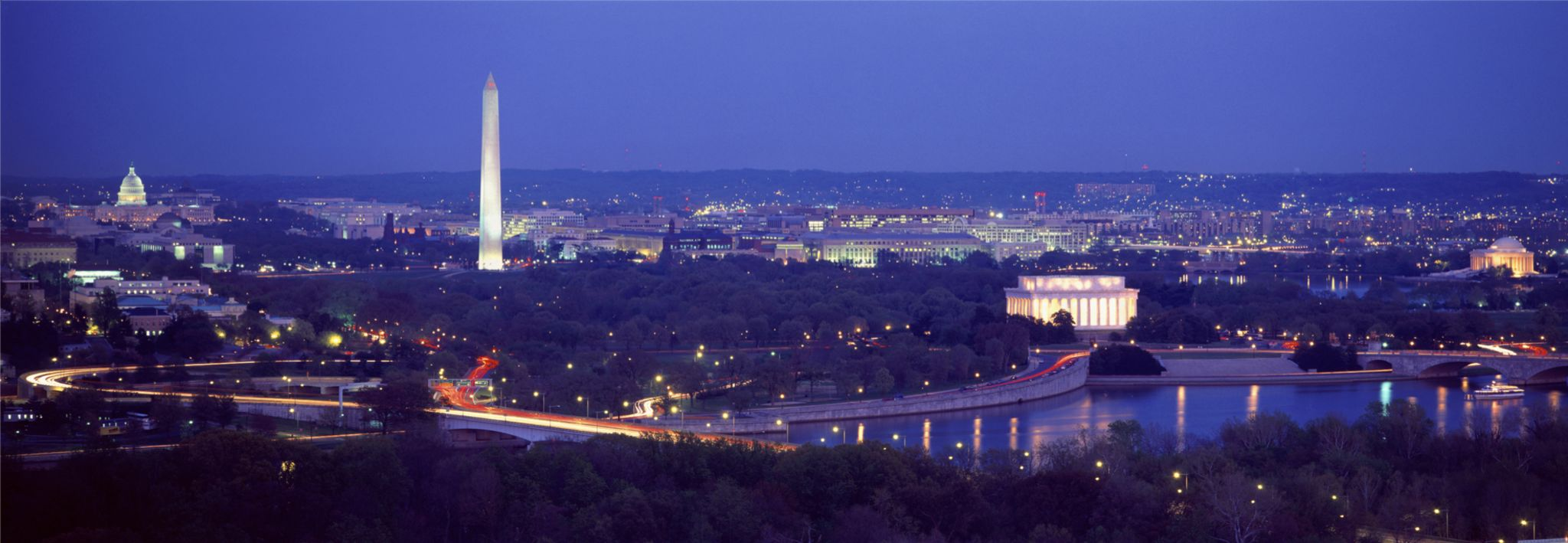 Beautiful view of Washington D.C. at night.