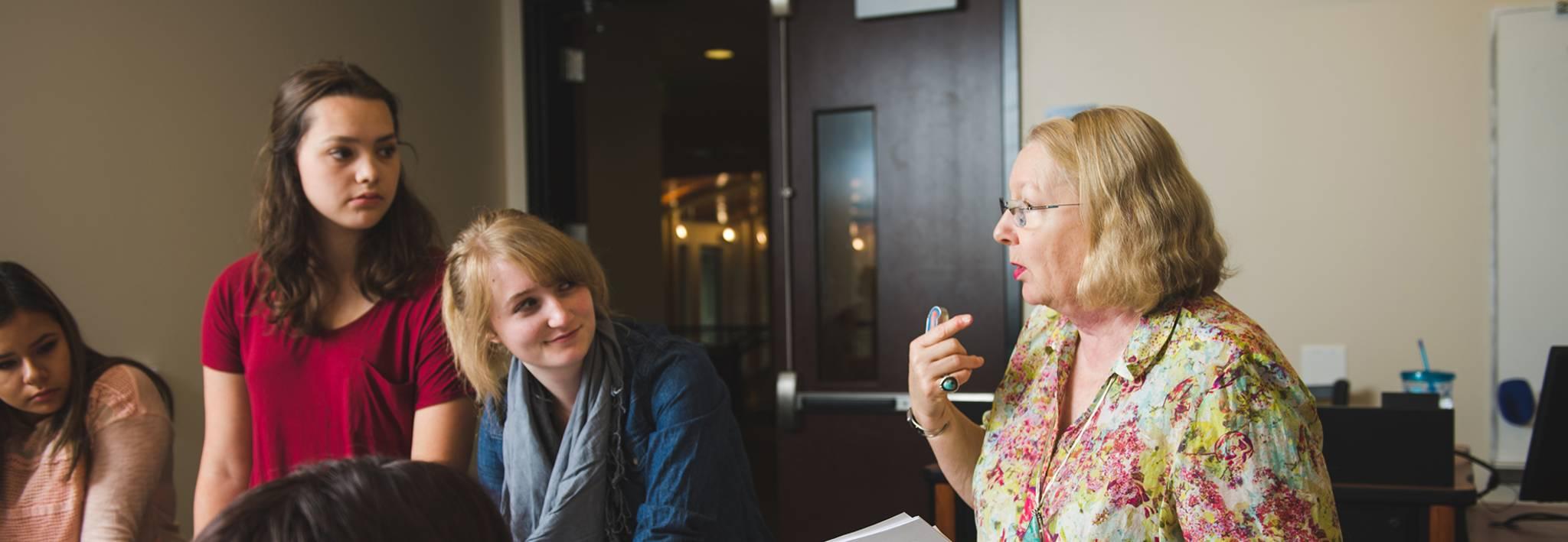 Priscilla Wright teaching a CCU class.
