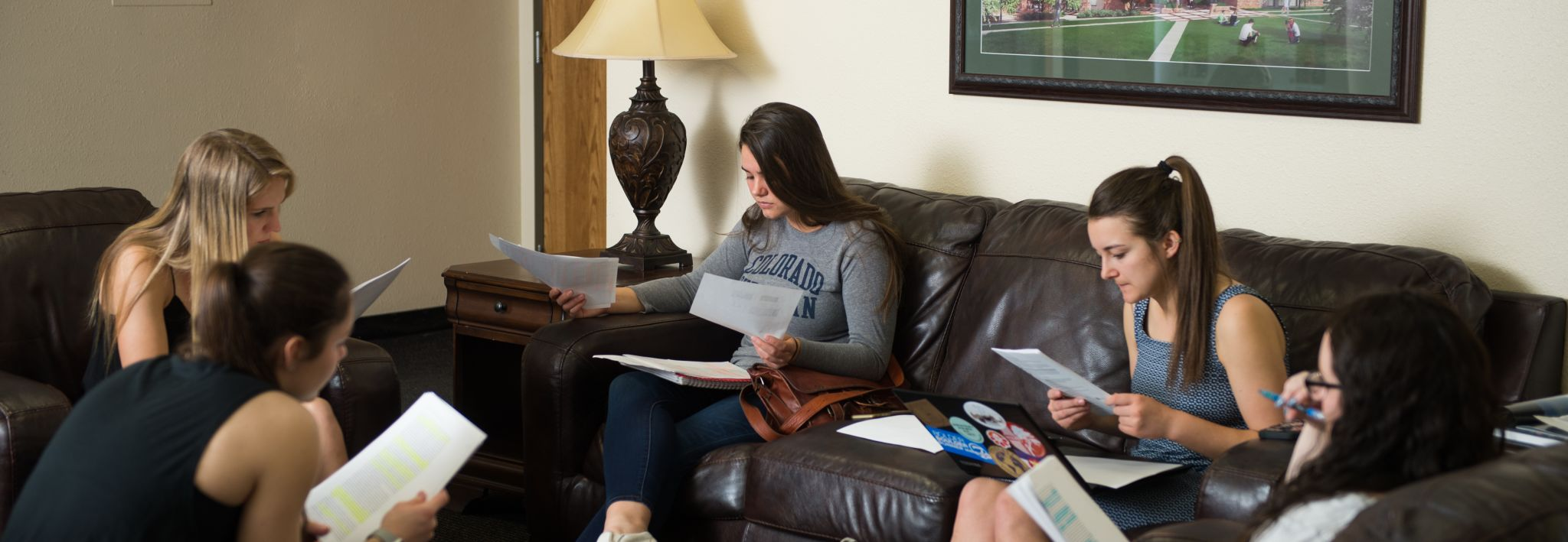 CCU students studying for an exam in their on campus housing.