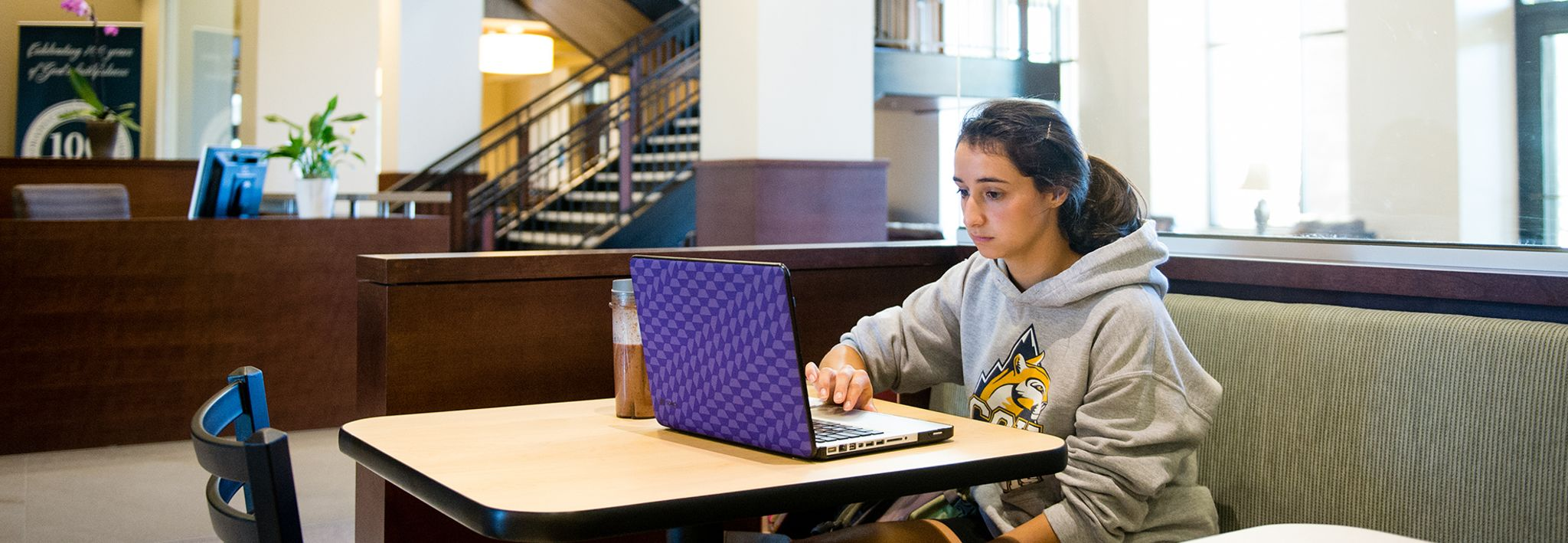 CCU student studying in Food for Thought.