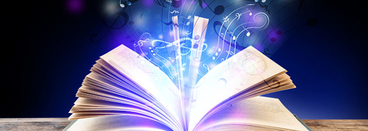 graphical music rising out from music book