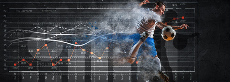 soccer athlete jumping with graphical statistics behind him