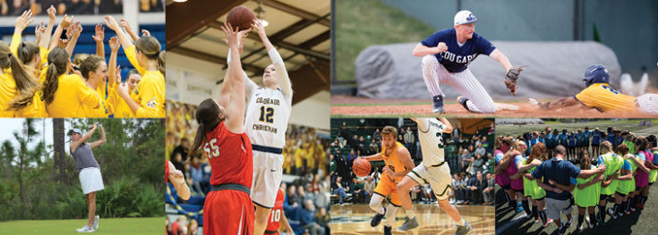 collage of various CCU athletics teams during games