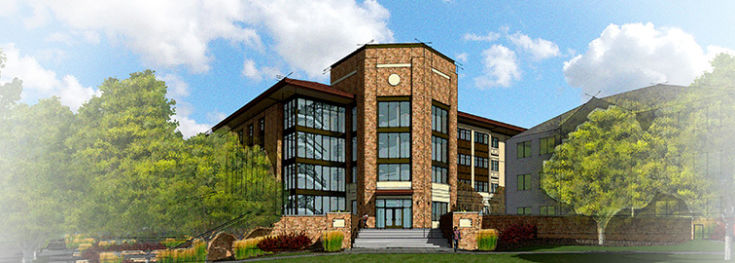 Artist rendering of what the fornt of Rockmont Hall is to look like.