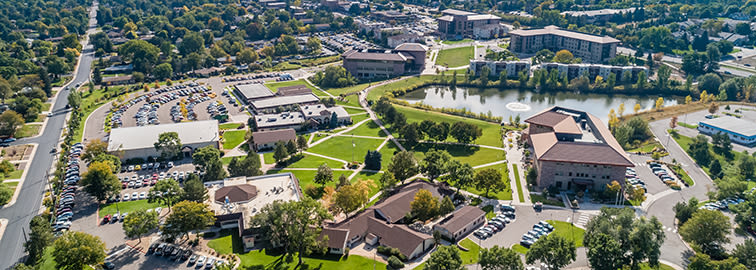 An overhead view of Colorado Christian University's Lakewood, Colorado campus.