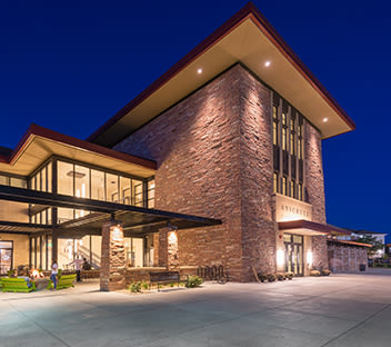 Anschutz Student Center on CCU campus at night