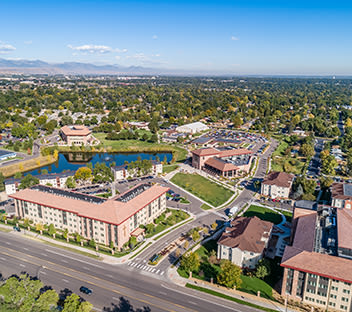 Drone image overhead CCU's Lakewood campus