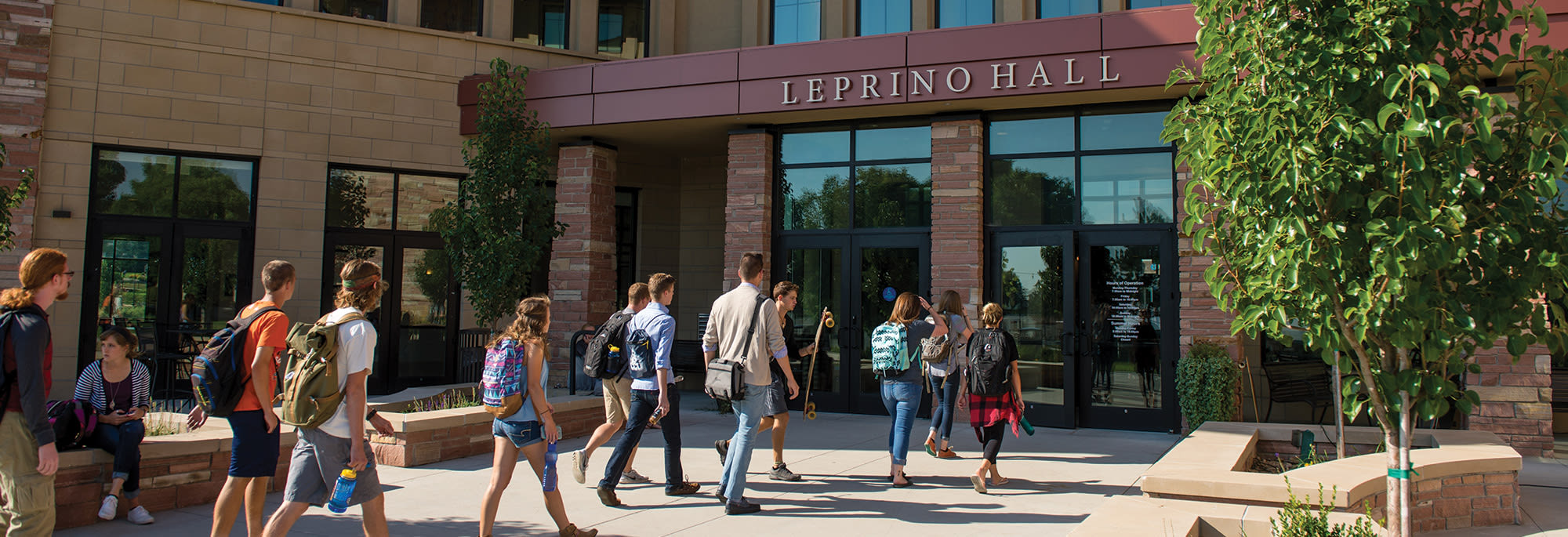 Students walking into Leprino Hall