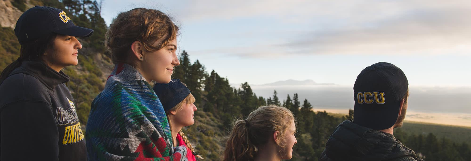 CCU students looking at Colorado sunrise