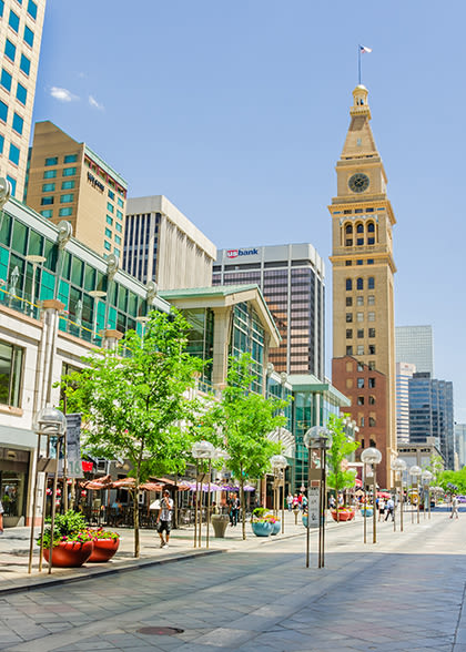 Photo of downtown denver on a sunny day.