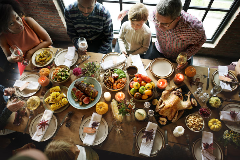 Family giving back on Thanksgiving day