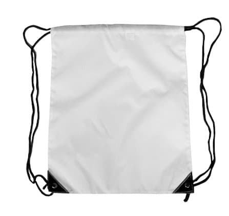 White Nylon Drawstring Backsack