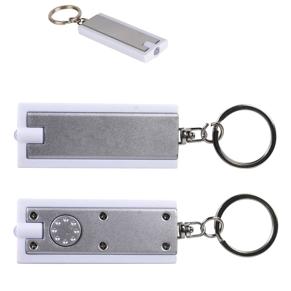 Silver/White Rectangular Flashlight Keytag
