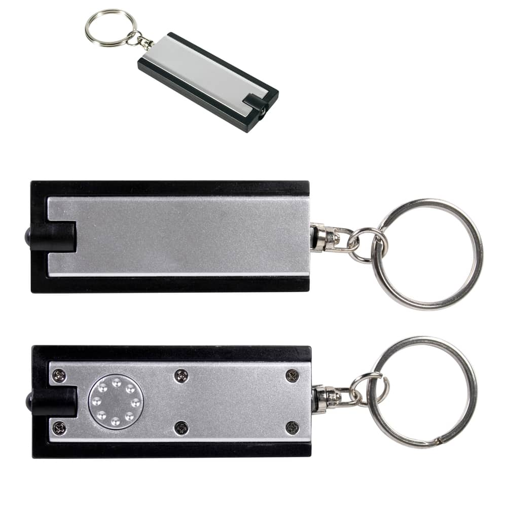 Silver/Black Rectangular Flashlight Keytag