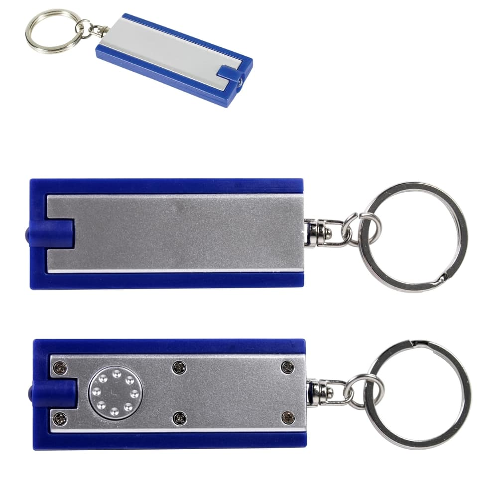 Silver/Blue Rectangular Flashlight Keytag
