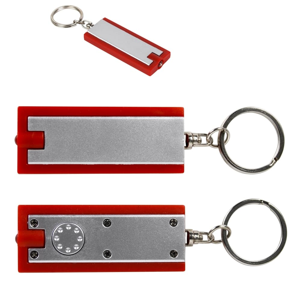 Silver/Red Rectangular Flashlight Keytag