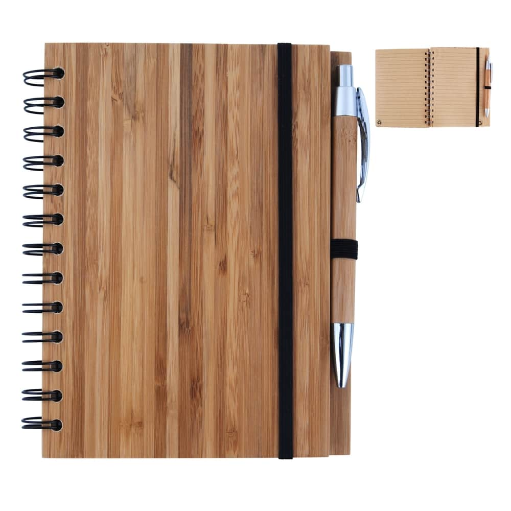 Natural Bamboo Cover Notebook with Pen