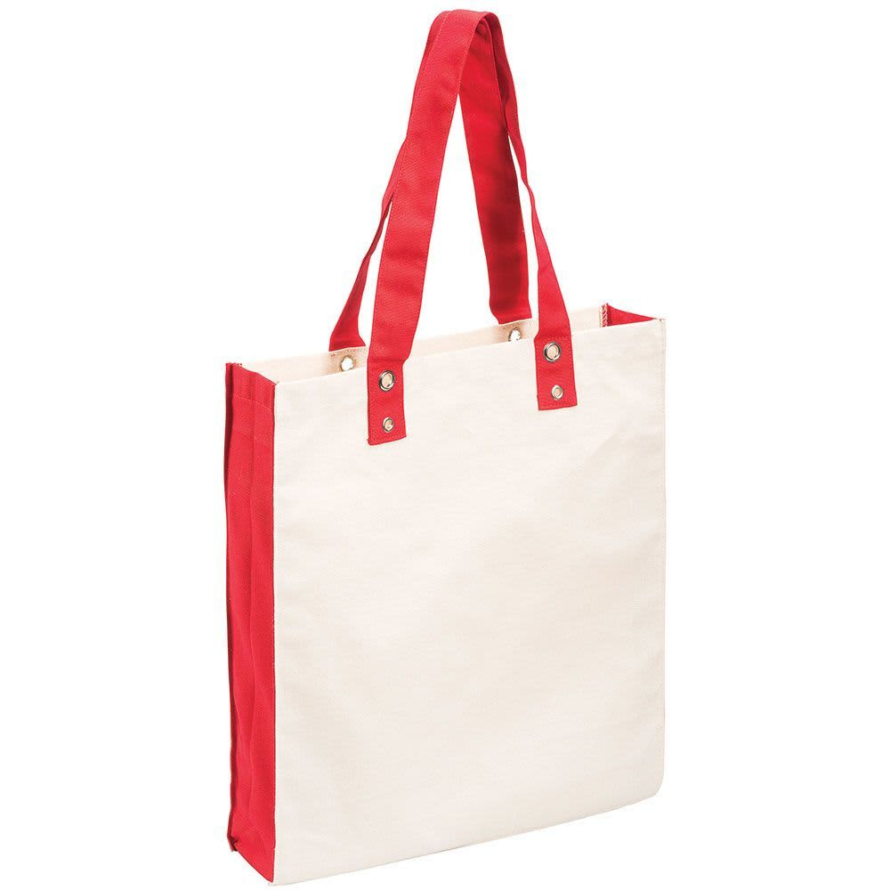 Red/Natural Canvas Shopper Tote