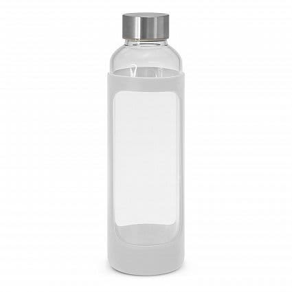 White Aphrodite Glass Drink Bottle - Silicone Sleeve