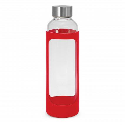 Red Aphrodite Glass Drink Bottle - Silicone Sleeve