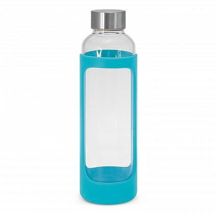 Light Blue Aphrodite Glass Drink Bottle - Silicone Sleeve