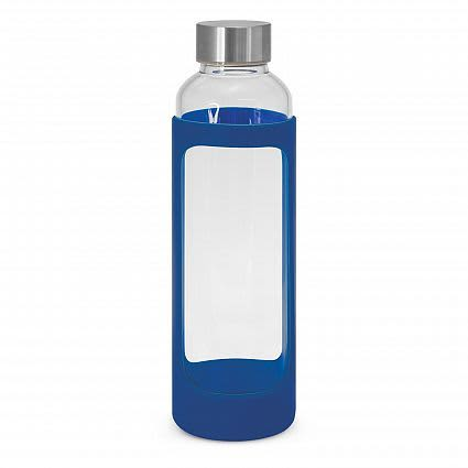 Dark Blue Aphrodite Glass Drink Bottle - Silicone Sleeve
