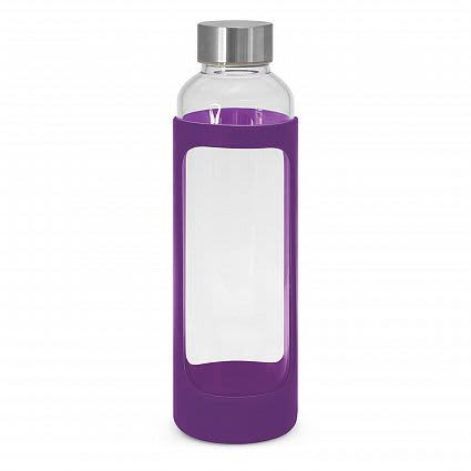 Purple Aphrodite Glass Drink Bottle - Silicone Sleeve