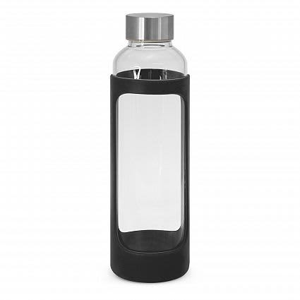 Black Aphrodite Glass Drink Bottle - Silicone Sleeve