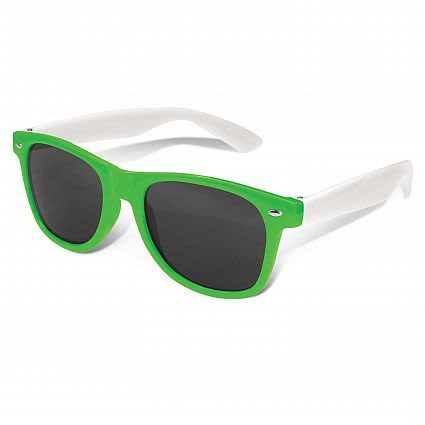 Bright Green Malibu Premium Sunglasses - White Arms