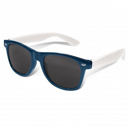 Dark Blue Malibu Premium Sunglasses - White Arms