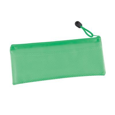 Green PVC Pencil Case with Zipper and Mesh Divider