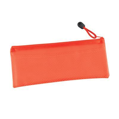 Red PVC Pencil Case with Zipper and Mesh Divider
