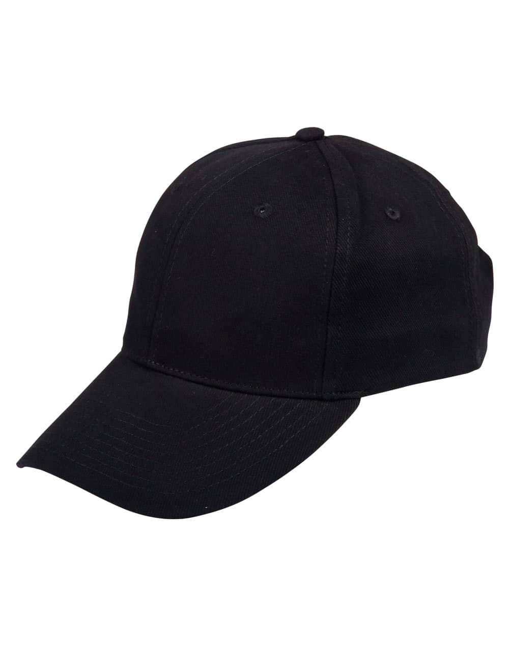 Black Heavy Brushed Cotton Cap