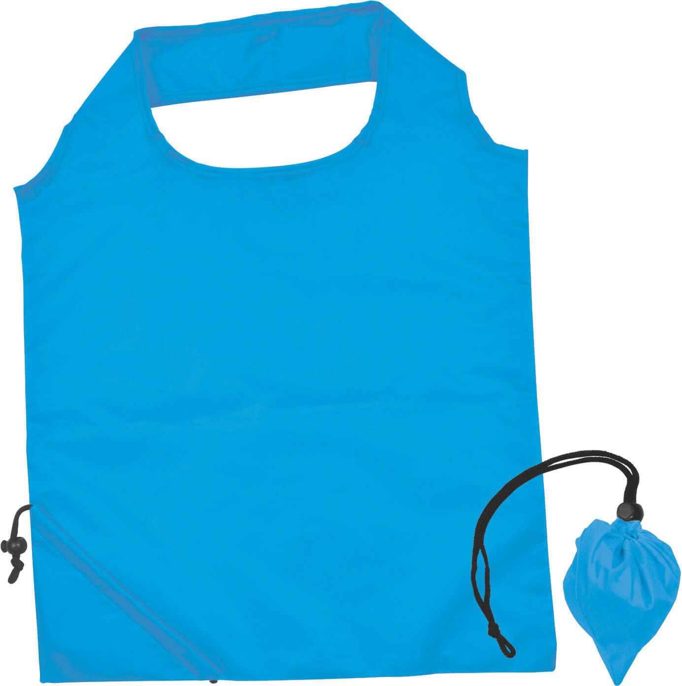 Light Blue Folding Polyester Shopping Bag