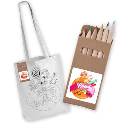 White White Long Handle Cotton Bag with Colouring Pencils
