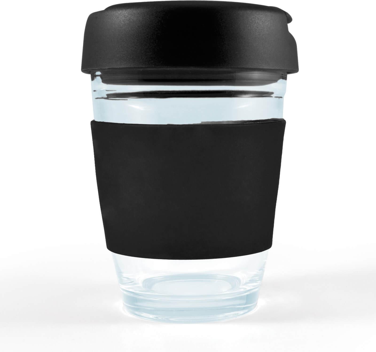 Black Vienna Glass Coffee Cup / Flip Lid