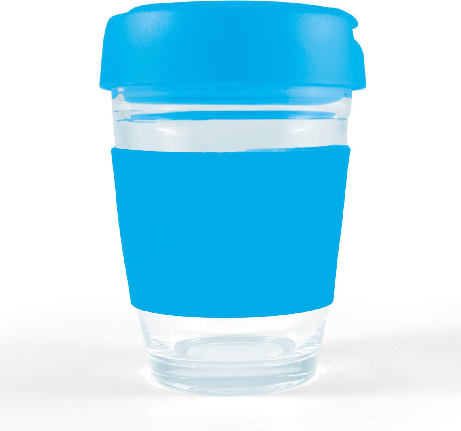 Light Blue Vienna Glass Coffee Cup / Flip Lid
