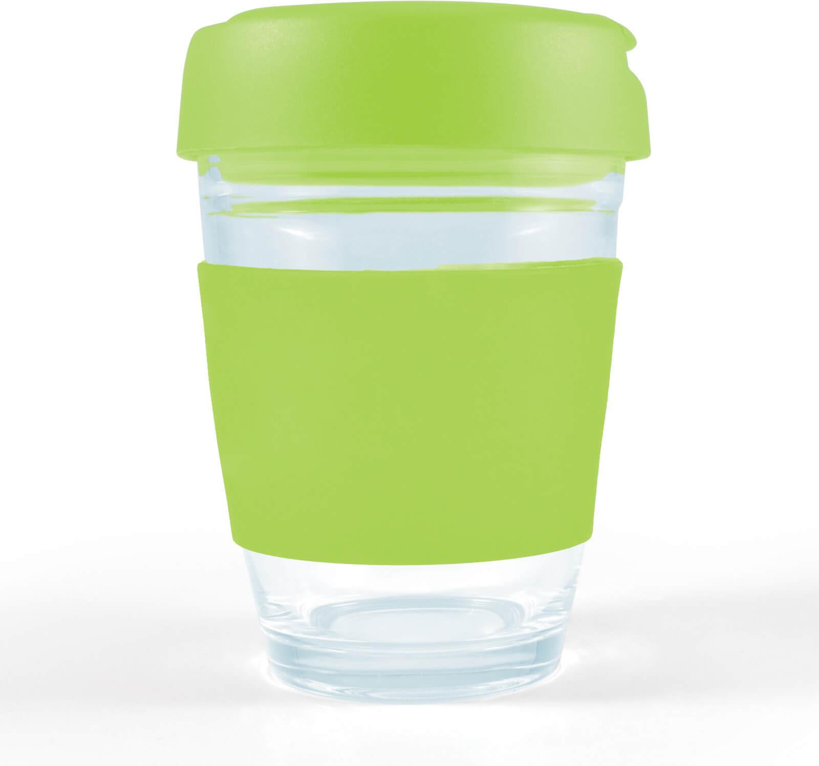 Light Green Vienna Glass Coffee Cup / Flip Lid