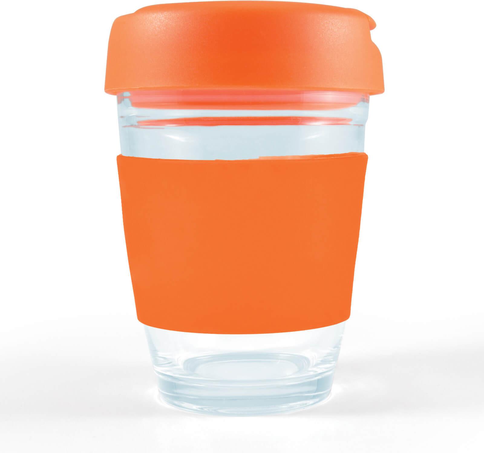 Orange Vienna Glass Coffee Cup / Flip Lid