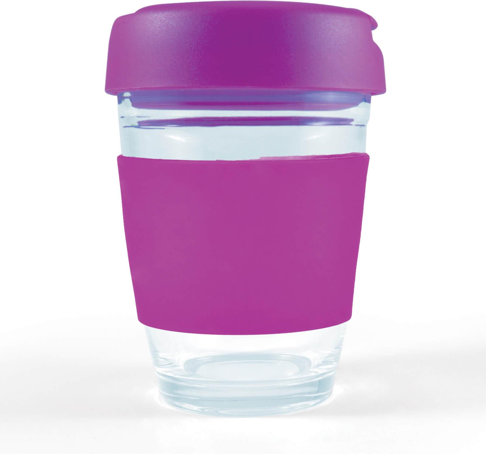 Purple Vienna Glass Coffee Cup / Flip Lid