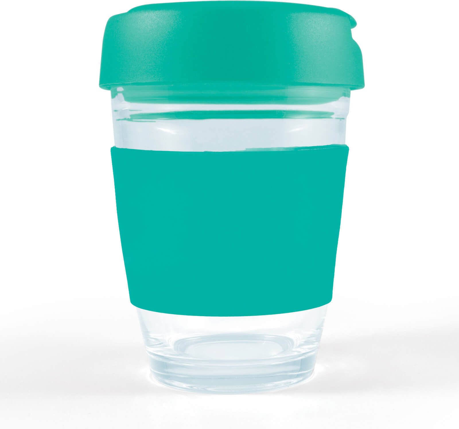 Teal Vienna Glass Coffee Cup / Flip Lid