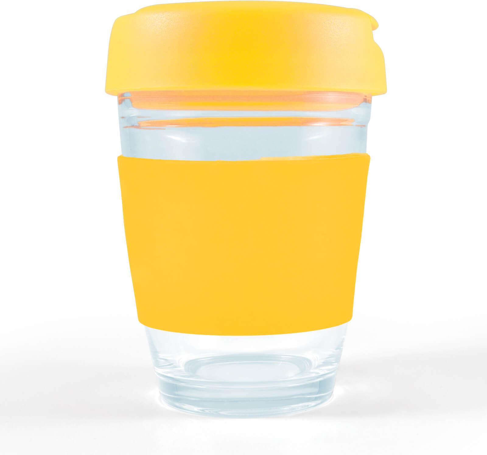 Yellow Vienna Glass Coffee Cup / Flip Lid
