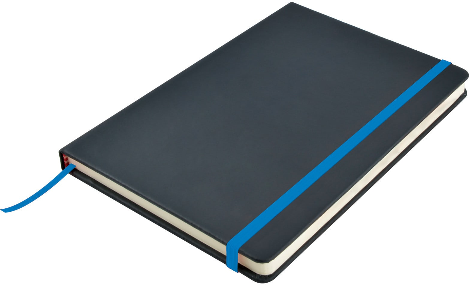 Black/Light Blue Venture A5  PU Notebook with Elastic Closure
