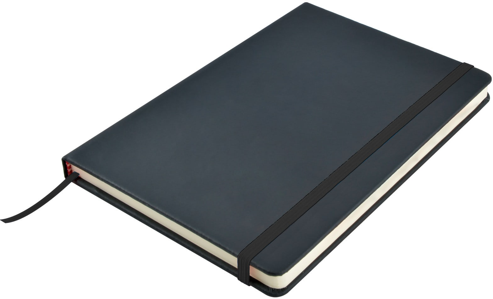 Black Venture A5  PU Notebook with Elastic Closure