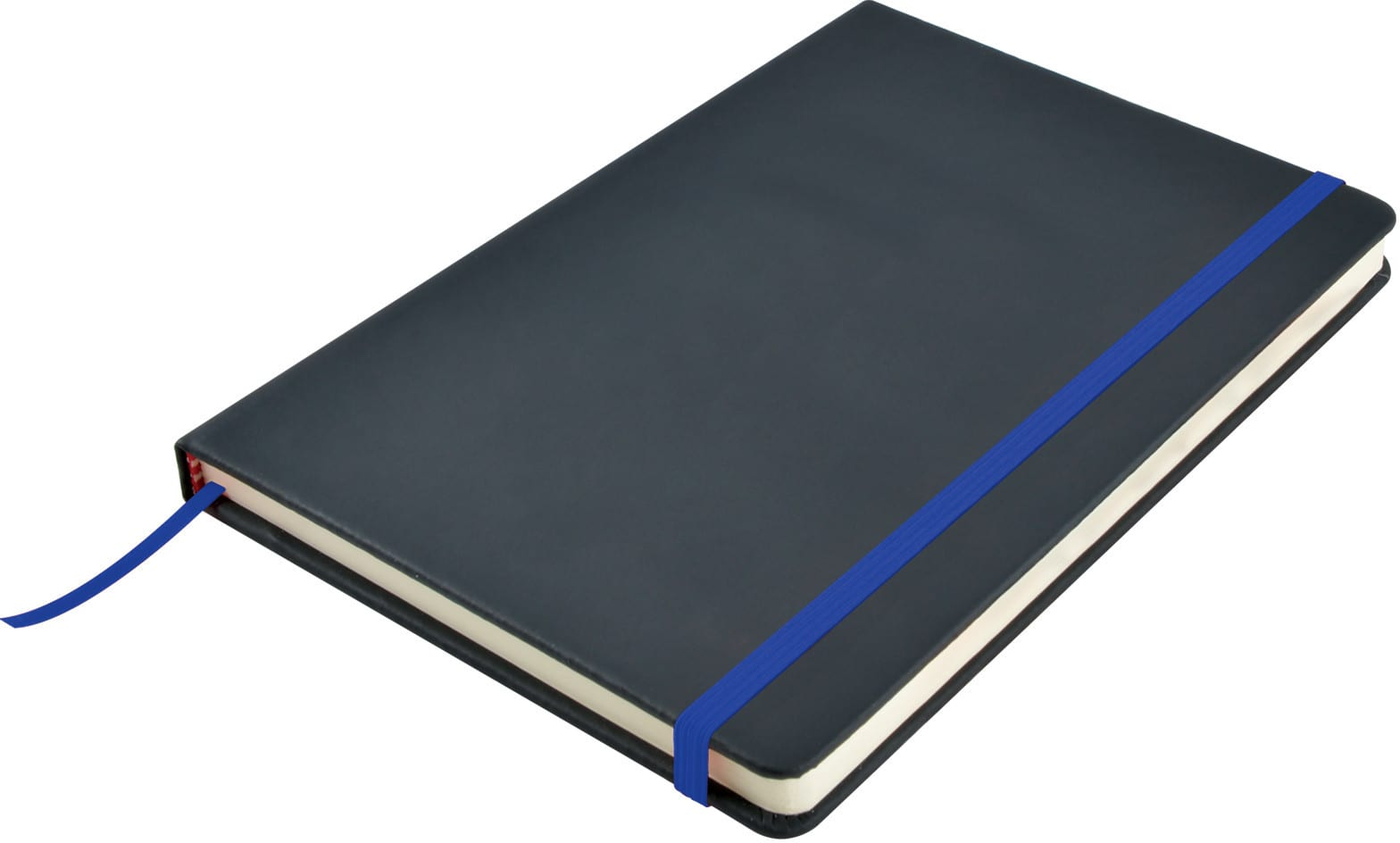 Black/Dark Blue Venture A5  PU Notebook with Elastic Closure